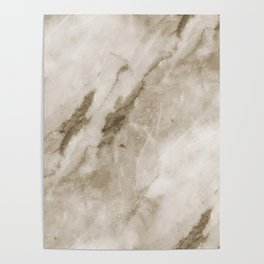 Classic Brown White Marble Rock Real Stone Poster