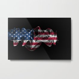 USA Smoke Flag on Black Background, USA flag Metal Print