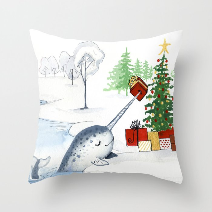 christmas narwhal throw pillow