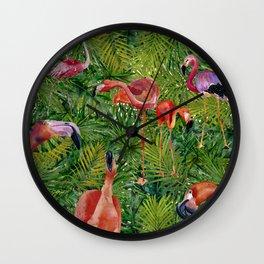 Aloha- Flamingo Bird Jungle Wall Clock