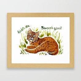 Shamrock Bobcat Smile Framed Art Print