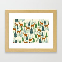Deers in the forest Framed Art Print