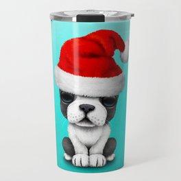 Christmas French bulldog Puppy Wearing a Santa Hat Travel Mug
