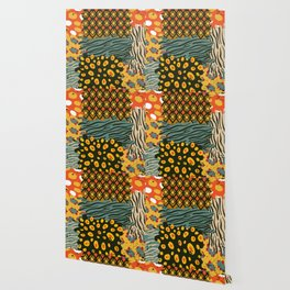 Colorful African Animal Pattern Wallpaper