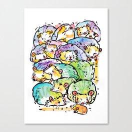 Hedgehog family Canvas Print