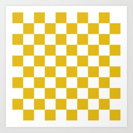 Mustard Yellow Checkers Pattern Art Print