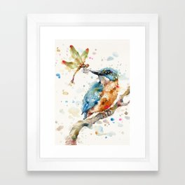 Interesting Relationships (Kingfisher & Dragonfly) Framed Art Print