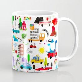 Dinosaur City Watercolor Transportation Pattern Coffee Mug