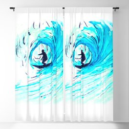 Solo - Surfing the big blue wave Blackout Curtain