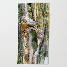 Lessons Of Life Mother Tiger And Cubs Beach Towel