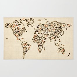 Cats Map of the World Map Rug