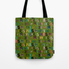 green merry christmas and happy new year Tote Bag