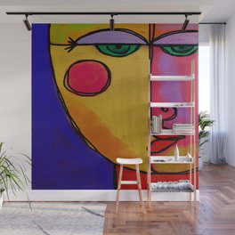 Colorful Abstract Face Digital Painting Wall Mural