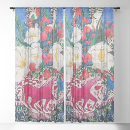 Horse Urn with Tiny Apples and Matilija Queen of California Poppies Floral Still Life Sheer Curtain
