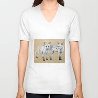 foxes V-neck T-shirts featuring foxes by Ashley White Jacobsen