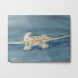 Avion bleu Metal Print