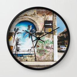 Cartagena, Colombia Street Art - Palm Trees Wall Clock