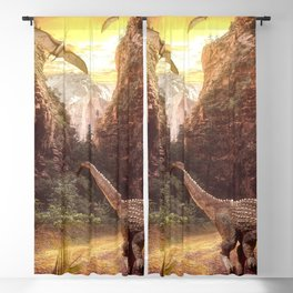 Awesome Ancient Dinosaur Reptiles In Forest Jungle HD Blackout Curtain