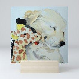 Puppy snuggles Mini Art Print