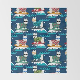 Westie surfing west highland terrier summer fun dog breed Throw Blanket