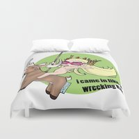 thranduil Duvet Covers featuring i came in like a  wrecking Elk by YattaGiulia