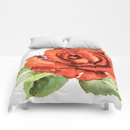 Red Rose In Bloom, Watercolour Sketch Comforters