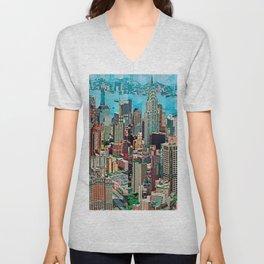 Stressless - New York City Skyline - Empire State Building Photograph on Canvas by Serge Mendjisky Unisex V-Neck