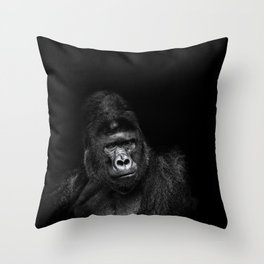 Portrait of a male gorilla on black background. Grave look of the great ape Throw Pillow