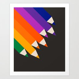 Rainbow Pencils Art Print