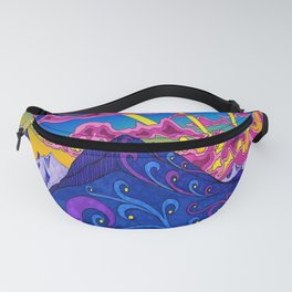 psychedelic colorful lines nature mountain trees snowy peak moon sun rays hill road artwork star sky Fanny Pack
