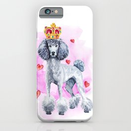Cute watercolor glamorous poodle dog with a golden crown. iPhone Case