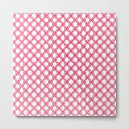 Pink Tangerine Ikat Ogee Pattern Metal Print