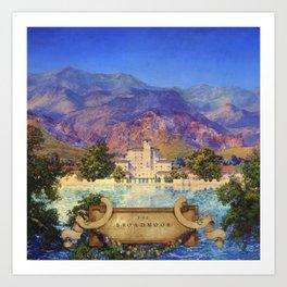 Broadmoor Hotel, Colorado Springs landscape by Maxfield Parrish Art Print
