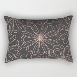 Girly gray blush pink rose gold floral Rectangular Pillow