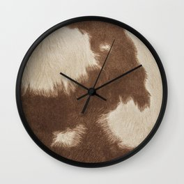 Cowhide Brown and White Wall Clock