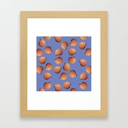 Blue Big Clams Illustration pattern Framed Art Print
