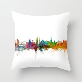 Newcastle England Skyline Cityscape Throw Pillow