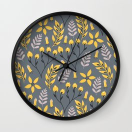 Mod Floral Yellow on Gray Wall Clock