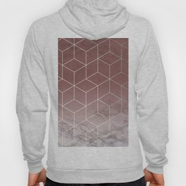 Geometric Cubes Deep Pink on Marble Hoody