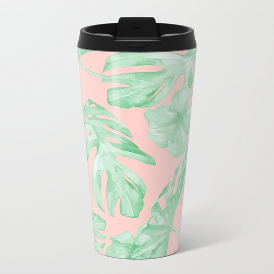 Island Life Seashell Pink + Light Green Metal Travel Mug