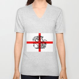 George and the Dragon Patriotic Flag Unisex V-Neck