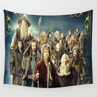 lord of the rings Wall Tapestries featuring the hobbit duvet cover,lord of the rings, by ira gora