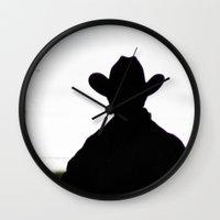 cowboy Wall Clocks featuring Cowboy by 100 Watt Photography