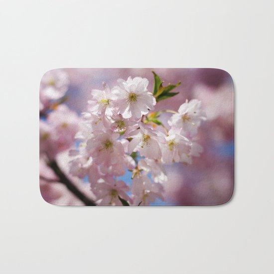 Pastel Pink flower blossom branch Bath Mat