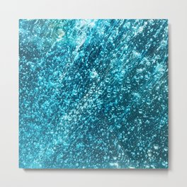 In The Midst of Blue Rain Bubbles Metal Print