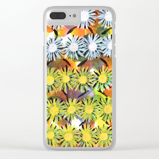 Rainbow Flower Pattern Clear iPhone Case