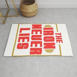 "A Nice Simple Lies Tee For Liars Saying ""The Iron Never Lies"" T-shirt Design Rug"