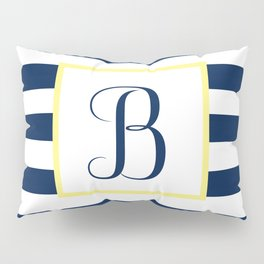 Monogram Letter B in Navy Blue it Yellow Outlined Box Pillow Sham