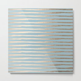 Abstract Stripes Gold Tropical Ocean Sea Blue Metal Print