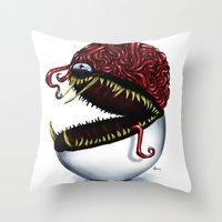 pokeball Throw Pillows featuring Evil pokeball  by Capadochio